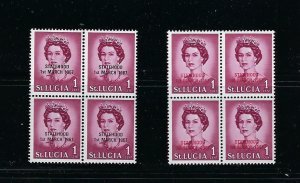 ST. LUCIA 1967 UNLISTED ASSOCIATED STATEHOOD (BLACK/RED) BLOCKS OF 4 -MINT NH