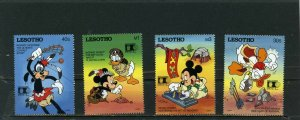 LESOTHO 1992 WALT DISNEY COLUMBIAN STAMP EXPO'92 CHICAGO SET OF 4 STAMPS MNH