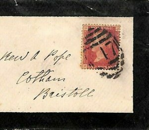 GB WALES BRECONS *Hay* *347*Numeral Rare 4VOS Mourning Cover Bristol 1870 N287