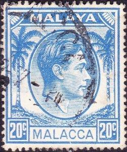 MALAYA MALACCA 1952 20c Bright-Blue SG11a Used