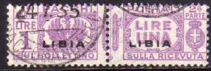 LIBIA 1927 - 1937 PACCHI POSTALI PARCEL POST LIRE 1 USATO USED OBLITERE'
