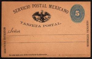 1886, Mexico 5c postal card, Unused (Sc 178)