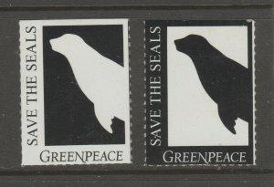 USA Green Peace Save the Seals Cinderella stamp 6-2- no gum - set of 2