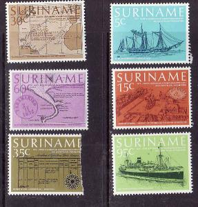 Suriname-Sc#478-83-unused NH set-Ships-Steamer Connections-35c stamp is damaged