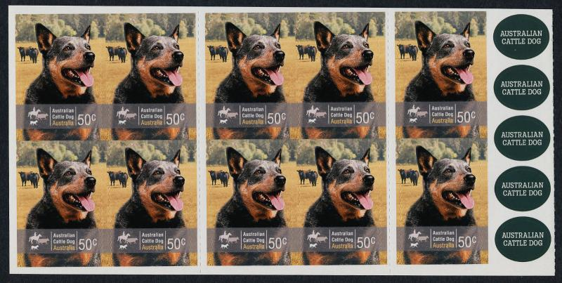 Australia 2880a Booklet Barcode 3 MNH Working Dogs, Cattle Dog