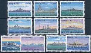[81300] Burkina Faso 1999 Ships Boats Bismarck Liberty Fregate from sheet MNH