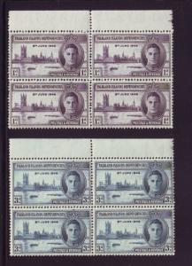 Falkland Islands Dep Sc1L9-0 1946 Peace stamps Bl of 4 NH
