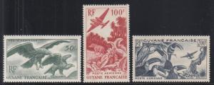 French Guiana Sc C18-C20 MLH. 1947 Air Post depicts birds and animals, cplt set