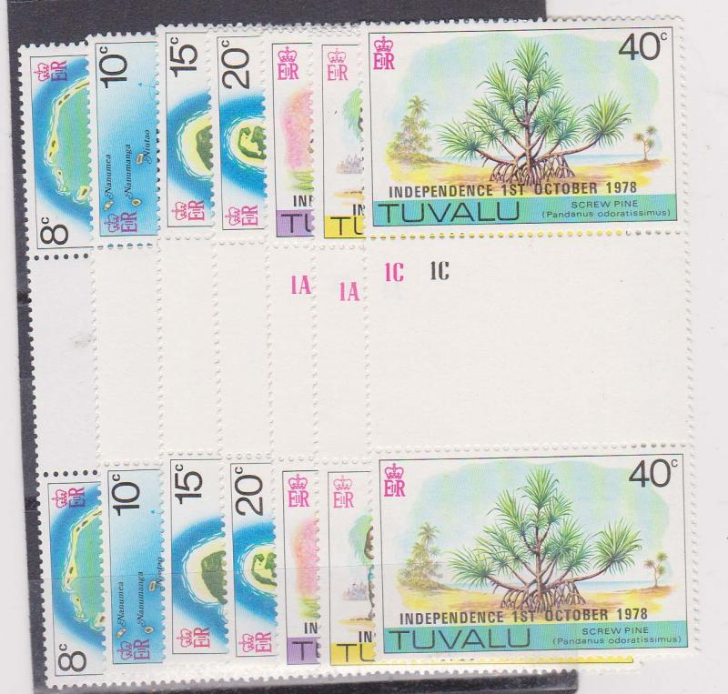 Tuvalu - 1978 Independence Set in Gutter Pairs mint NH