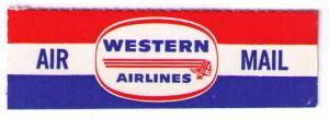 WESTERN AIRLINES 1955 SCARCE VINTAGE AIR MAIL LABEL, CAT #USA-B-52a,  CINDERELLA