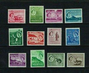 Mauritius: 1956, Queen Elizabeth definitive, short set to 1Rupee, Mint
