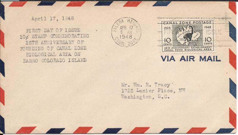 Canal Zone #141 FDC on Air Mail Envelope