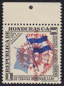 1955 Honduras, yt Pa 207 Rotary 1 Cent. MNH / Varieties' Overprint Vertical