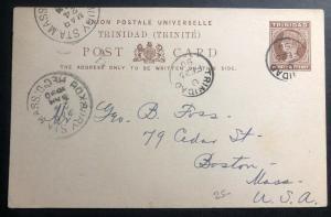 1890 Trinidad & Tobago Postal Stationery Postcard Cover To Boston Ma USA