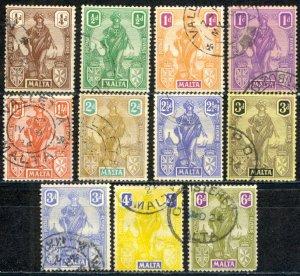 Malta Sc# 98-108 Used 1922-1926 1/2p-6p Britannia & Malta