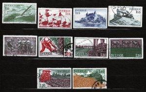 J23051 JLstamps 1978 & 9 sweden sets used #1248-52,1280-4 designs