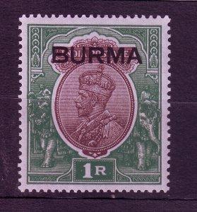 J23697 JLstamps 1937 burma mh #13 ovpt king