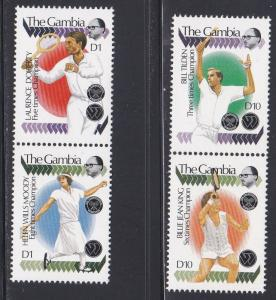 Gambia # 945a & 955a, Wimbeldom Tennis Champions, NH, 1/3 Cat.