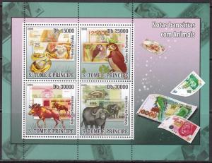 Sao Tome and Principe, Fauna, Birds, Animals, Banknotes MNH / 2008