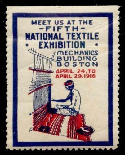 US 1916 Boston Textile Expo Indian Poster Stamp