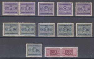ITALY 1946-58 Sc J58-J59 & Q87 (12x) SHADES MNH & MLH F,VF SCV$74.20
