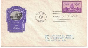 #896 FDC, 3c Idaho 50th, 3 diff. cachets