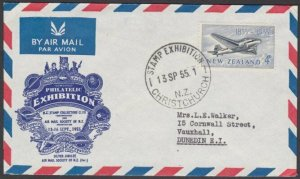 NEW ZEALAND 1955 Christchurch Stamp Exhibition cover .......................L710