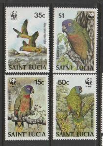St Lucia 1987 Amazon Parrots UM SG 969/72
