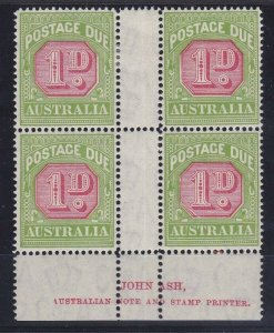 PDA51) 1931-37 C of A wmk perf 14 1d Carmine & yellow green Ash imprint blk of 4