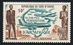 Ivory Coast C18,MNH.Michel 238. Air Afrique 1962.Plane,Map,Sheep.