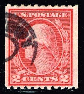 US STAMP #488 2c Carmine 1916-19 Rotary Press P. 10 Coil USED STAMP