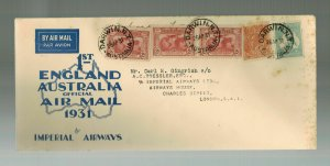 1931 Darwin Australia England First Flight Cover FFC  Imperial Airways Roessler