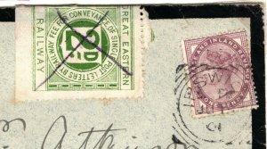 GB RAILWAY STAMP Cover *GER* Non Philatelic Ipswich 1901 Squared Circle MAL163