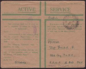 PALESTINE 1943 UK Honour Envelope used FPO 149 at Hadera....................8958