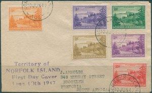 Norfolk Island 1947 SG1-12 Ball Bay 6 values on FDC