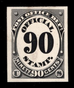 Official Mail - Scott Catalog # O56P4 - Black - Plate Proof on Card - Unused