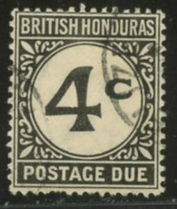BRITISH HONDURAS Sc#J3 SG#D3 (1923) 4 cents Postage Due Scarce Used
