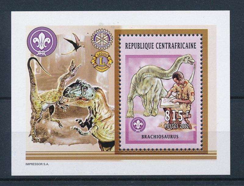 [26827] Central African Republic 2002 Pre Historic Animals Dinosaurs MNH  Sheet