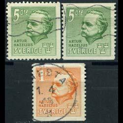 SWEDEN 1941 - Scott# 323-5 Founder of Museum Set of 3 Used