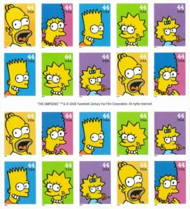 The Simpsons Booklet of Twenty 44 Cent Stamps Scott 4399-4403 By USPS