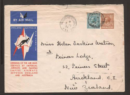 Great Britain Sc 194,199 on 1934 Christmas Flight cover