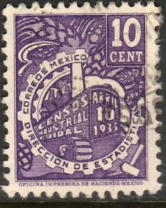 MEXICO 721, 10c INDUSTRIAL CENSUS. USED. F-VF. (568)