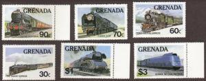 Grenada #1120-25 cpl MNH set - trains