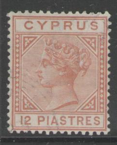 CYPRUS SG37 1893 12pi ORANGE-BROWN FINE USED