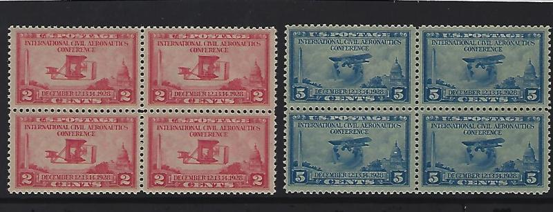 Aeronautics Conference Issue. 649-650  Blks of 4   M/N/H and Ex/F in appearance