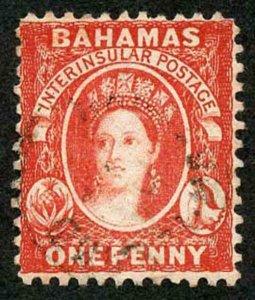 Bahamas SG40 1d Scarlet-vermilion Perf 12 Wmk Crown CA Used