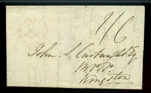 CORNWALL double split ring to Kingston rec'r 1843, stampless cover Canada