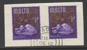 Malta, SG 330b, used piece Malta Doubled variety