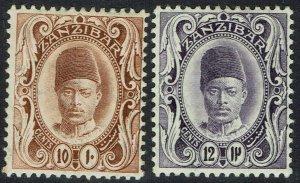 ZANZIBAR 1908 SULTAN 10C AND 12C