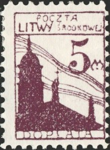 CENTRAL LITHUANIA / MITTELLITAUEN - 1921 Mi.P.5.A 5M Mint* - ref.916h